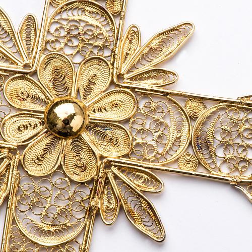 Croce pettorale arg. 800 dorata filigrana con raggi 4