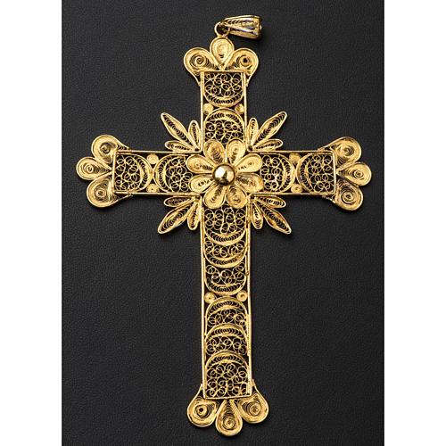 Croce pettorale arg. 800 dorata filigrana con raggi 5