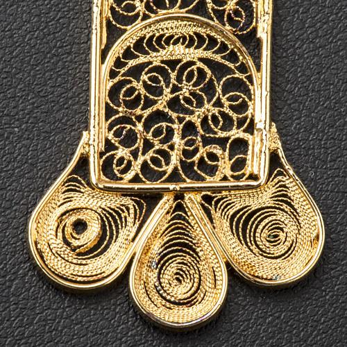 Croce pettorale arg. 800 dorata filigrana con raggi 6