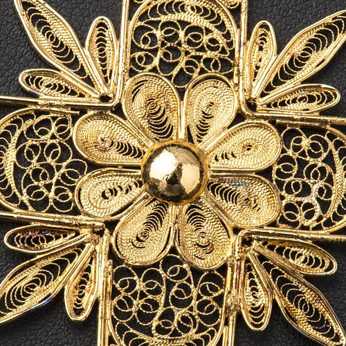 Croce pettorale arg. 800 dorata filigrana con raggi 7