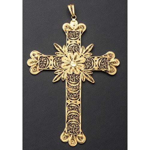 Croce pettorale arg. 800 dorata filigrana con raggi 8