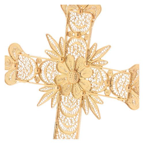 Croce pettorale arg. 800 dorata filigrana con raggi 2