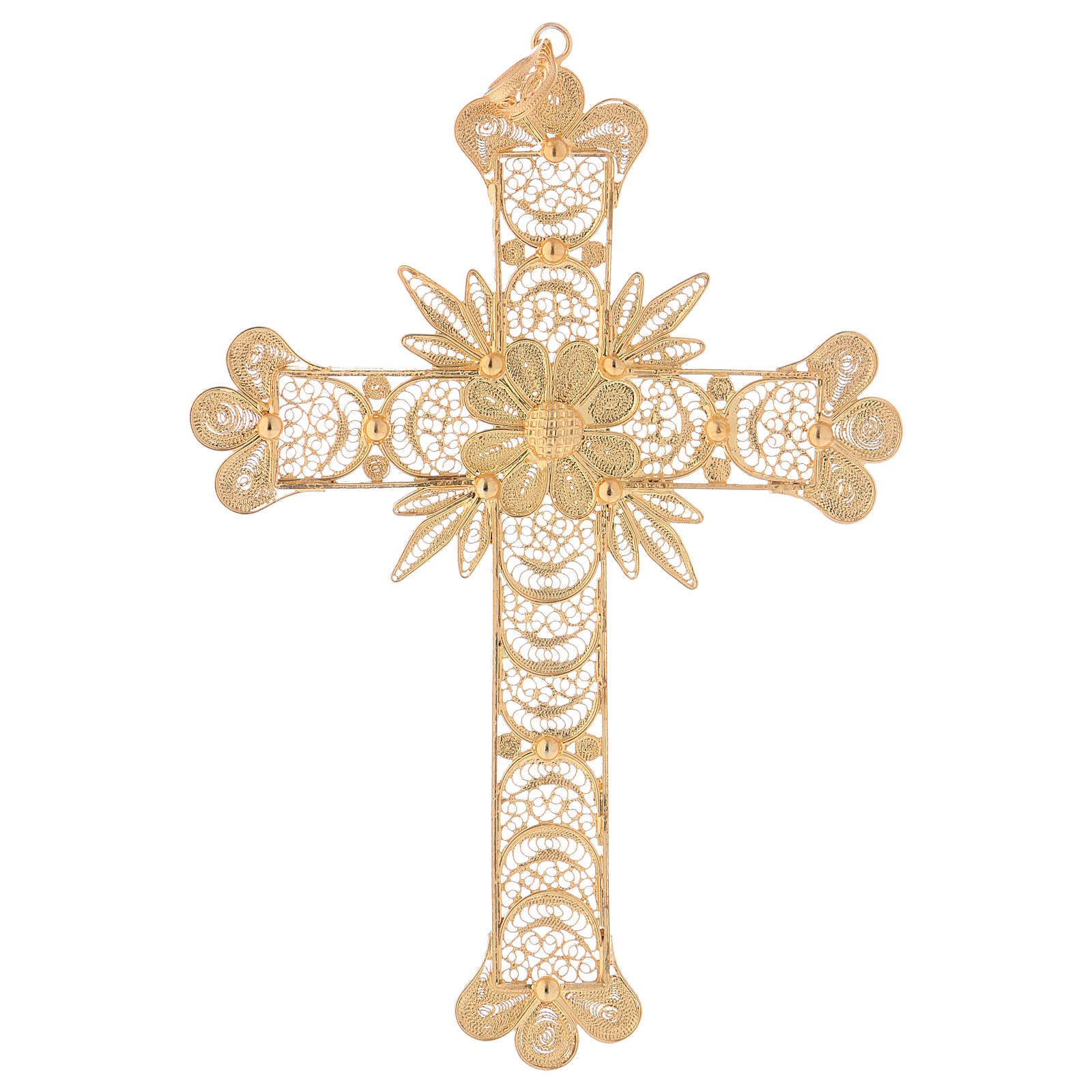 Pectoral Cross in golden silver filigree with rays decoration 3