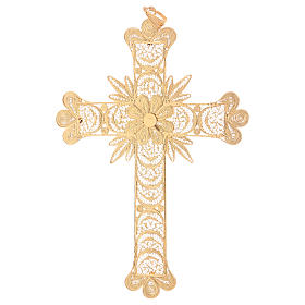 Pectoral Cross in golden silver filigree with rays decoration s3