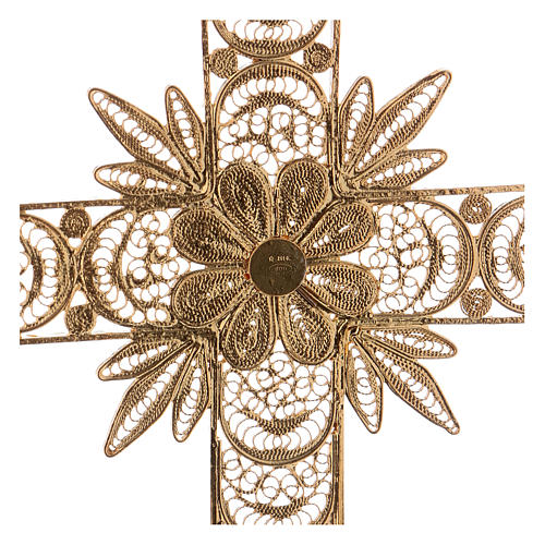 Pectoral Cross in golden silver filigree with rays decoration 4
