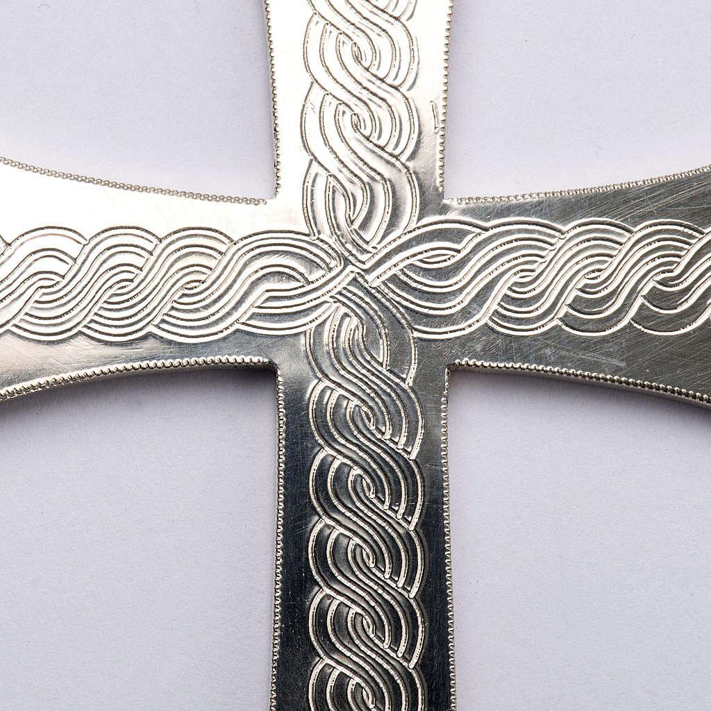 Croce pettorale argento 800 con incisioni 3