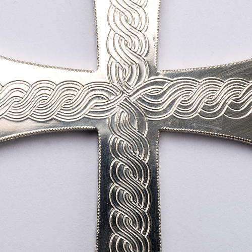 Croce pettorale argento 800 con incisioni 2