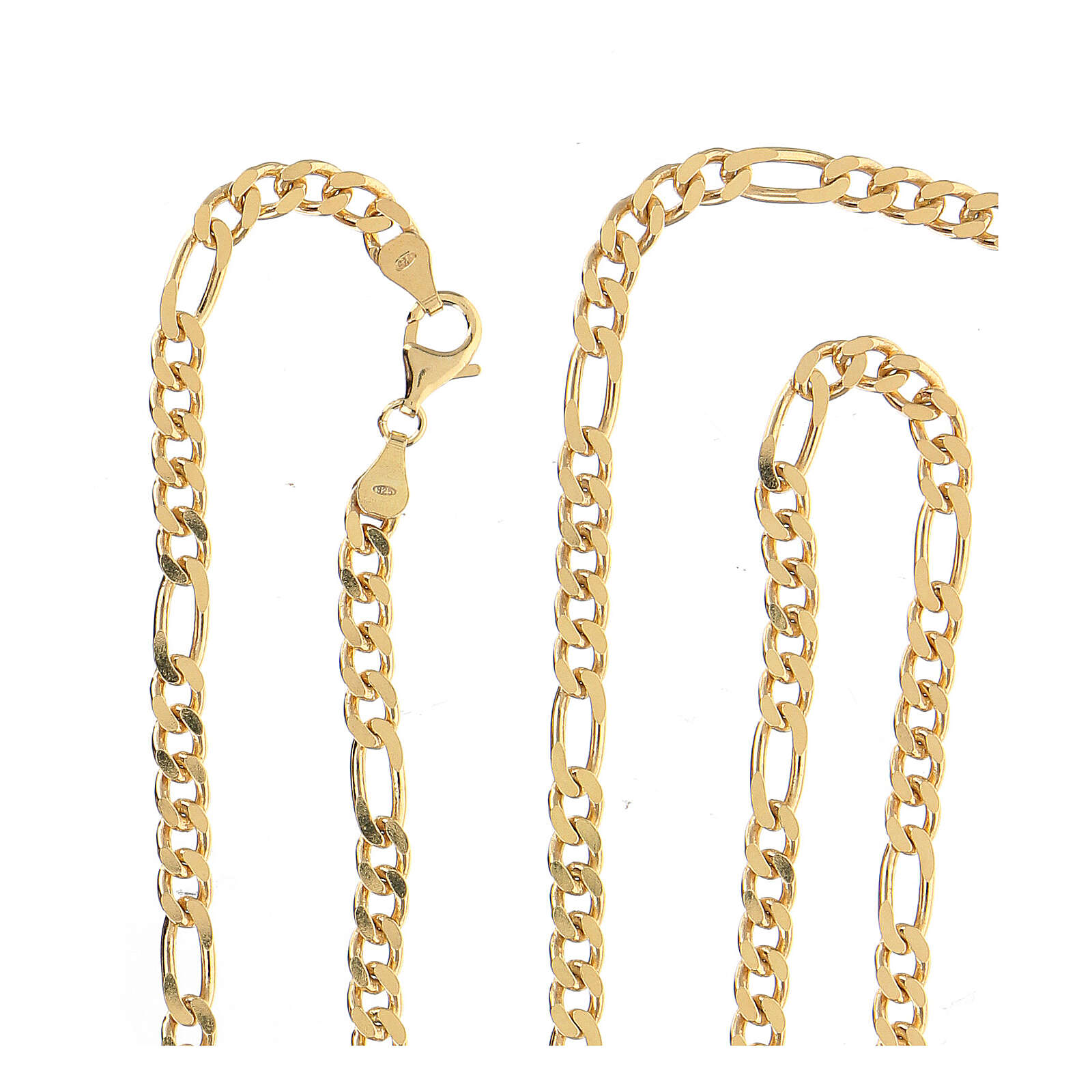 Curb chain in gold plated silver for pectoral cross, 90cm long 3