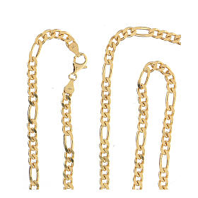 Curb chain in gold plated silver for pectoral cross, 90cm long s3