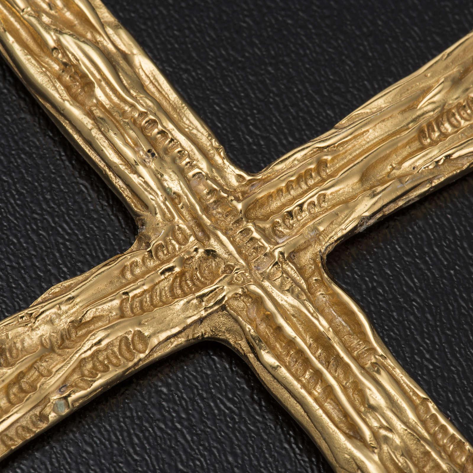 Croce pettorale per vescovo argento 925 dorato 3
