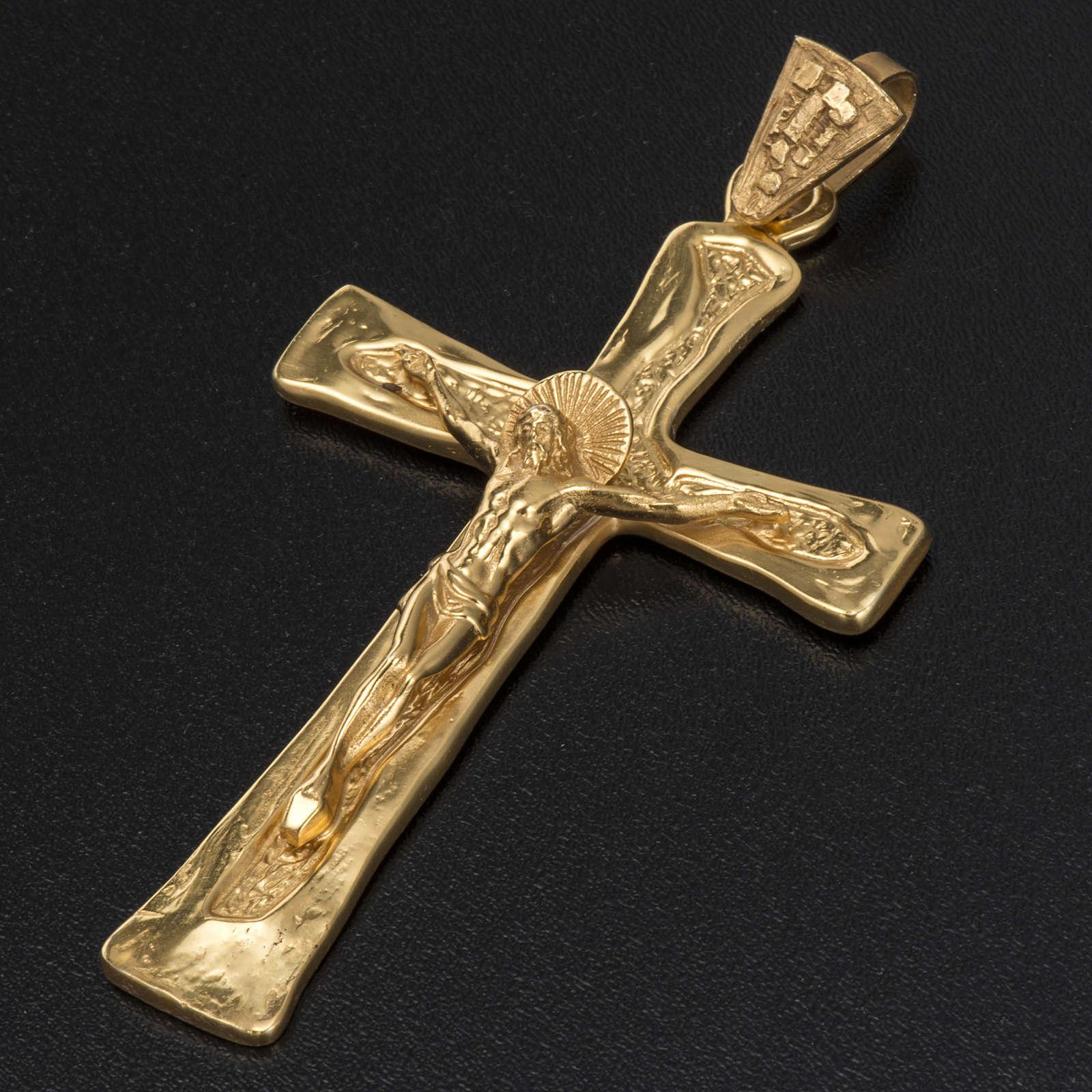 Cruz peitoral prata 925 dourada 3