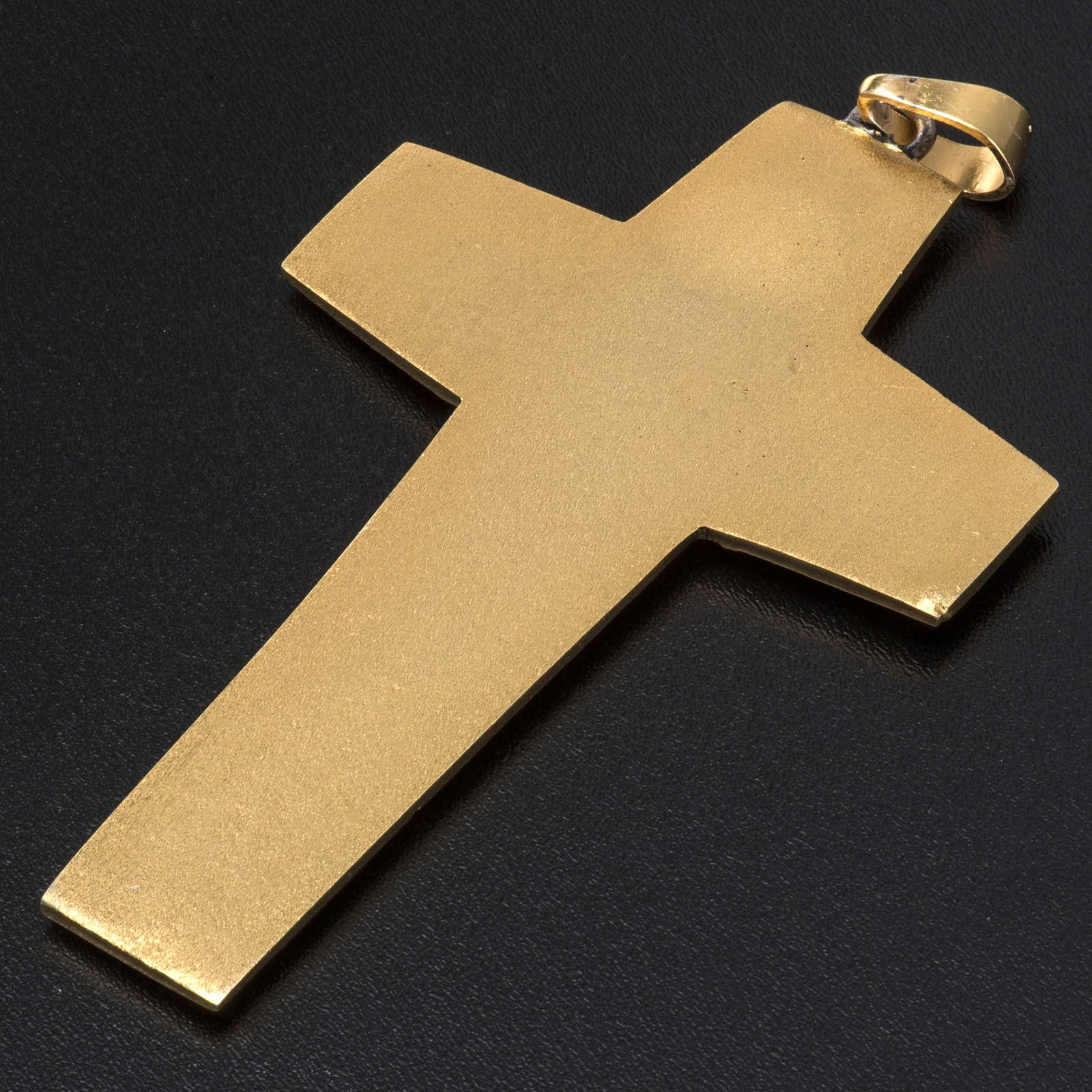 Croce pettorale vescovile ottone bicolore 3