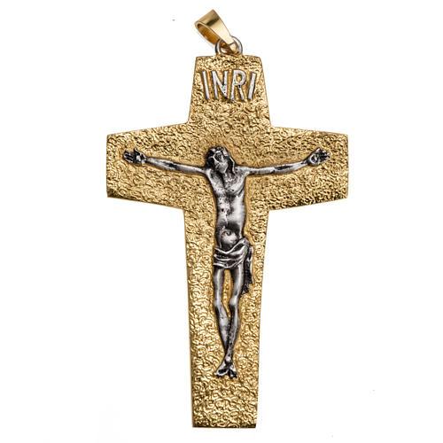Croce pettorale vescovile ottone bicolore 1