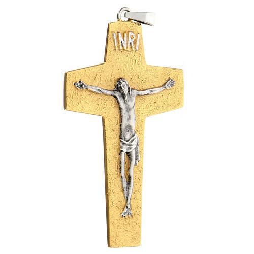 Croce pettorale vescovile ottone bicolore 2