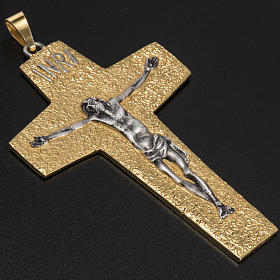 Pectoral cross in two tone brass s2