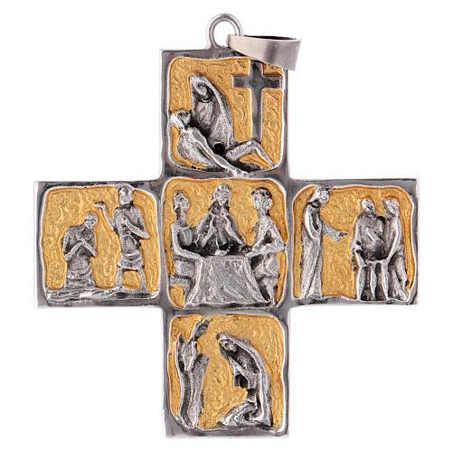 Cruz pectoral latón escenas de la vida de Jesús 1