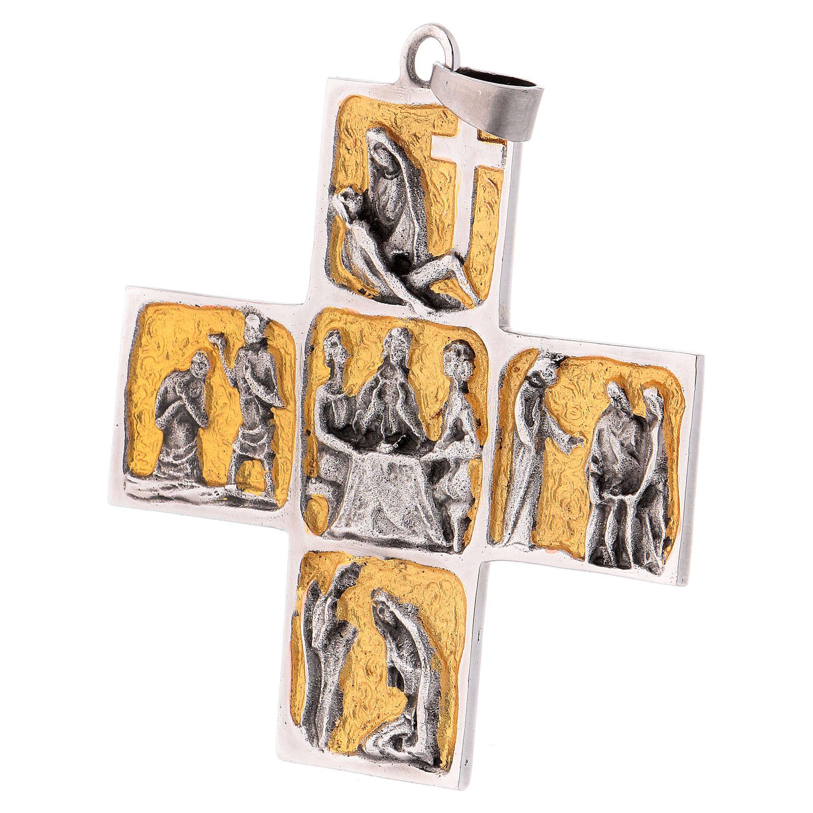 Croix pectorale laiton scènes de la vie de Jésus 3