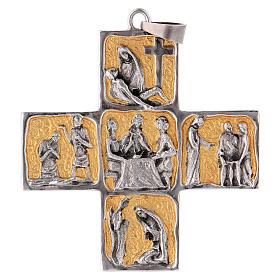 Croix pectorale laiton scènes de la vie de Jésus s1