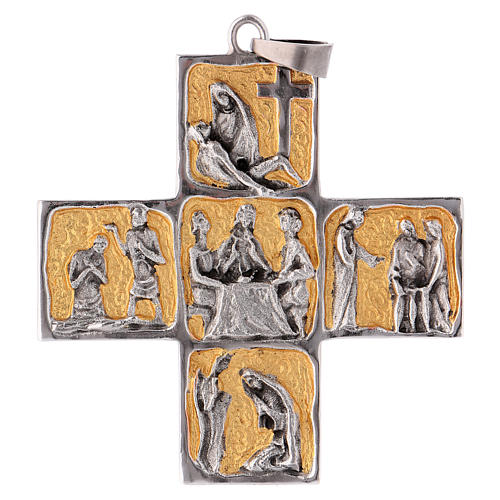 Croix pectorale laiton scènes de la vie de Jésus 1