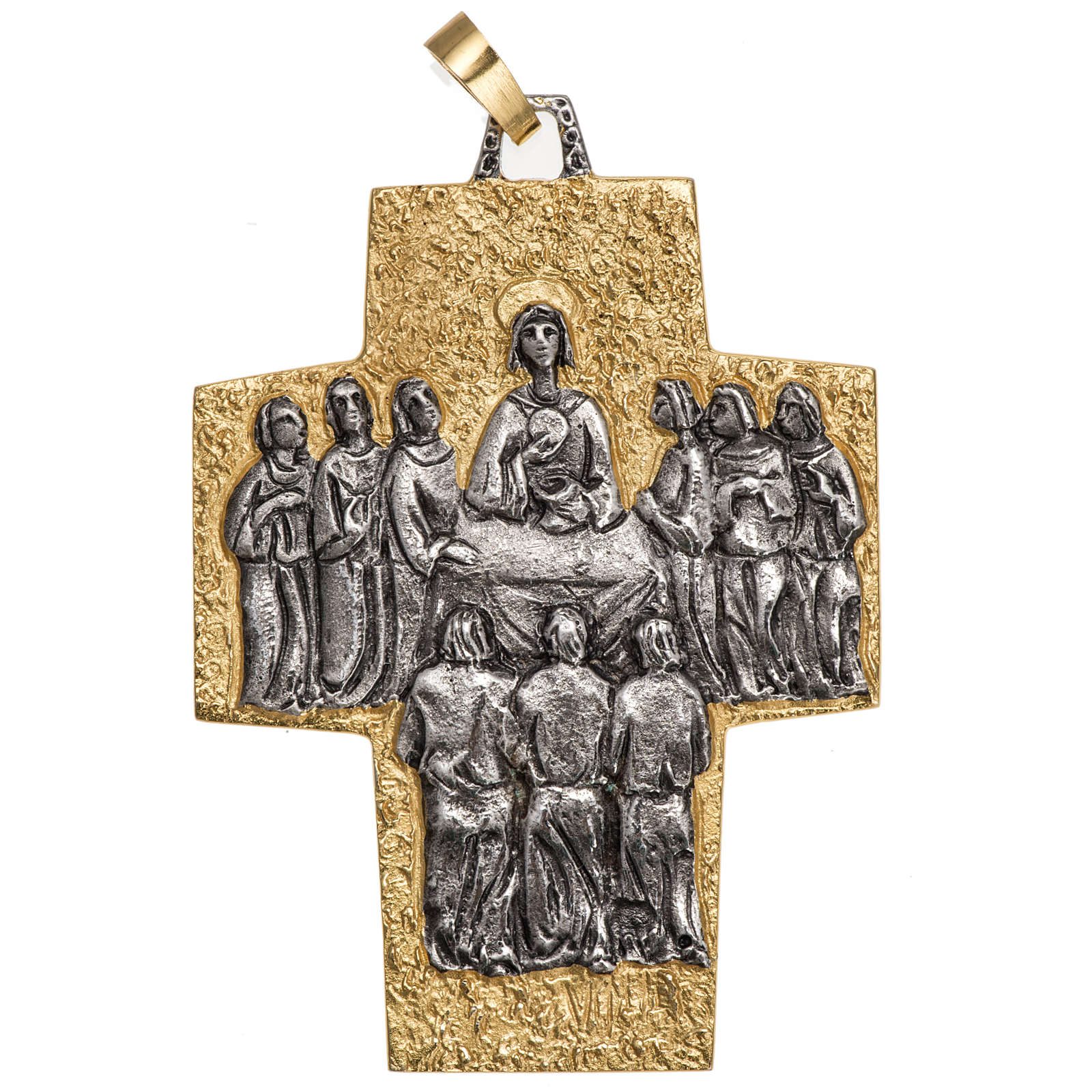 Pectoral cross in brass, Last Supper 3