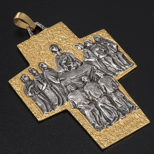 Pectoral cross in brass, Last Supper 2