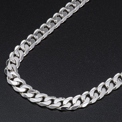 Curb necklace chain in Silver 925 for pectoral cross, 90 cm long 2