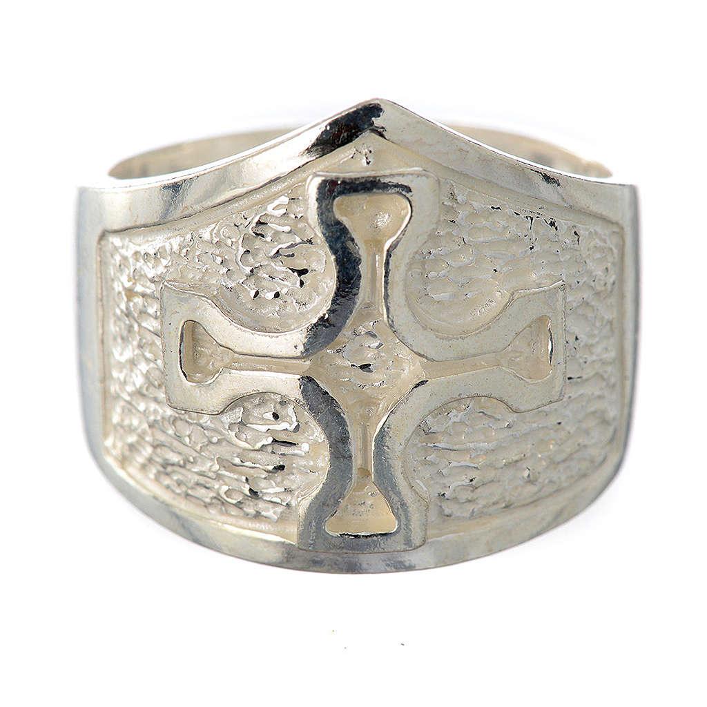 Anillo episcopal plata 925 decoración cruz 3