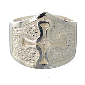 Anillo episcopal plata 925 decoración cruz s1