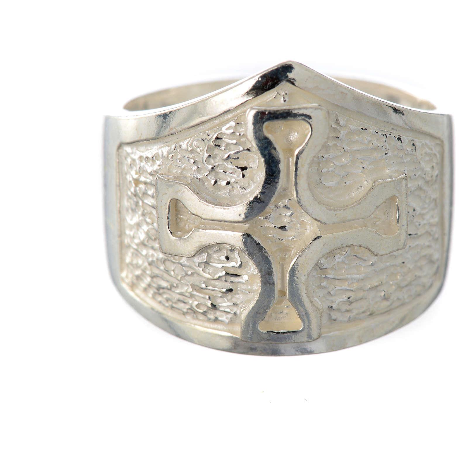 Anello episcopale argento 800 croce argentato 3