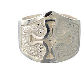 Anello episcopale argento 800 croce argentato s5