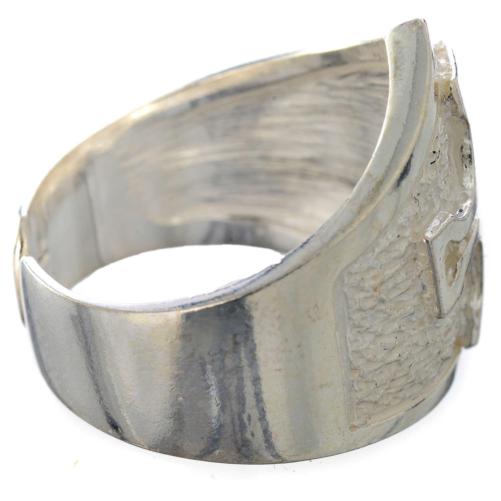 Anel episcopal prata 800 cruz prateada 3