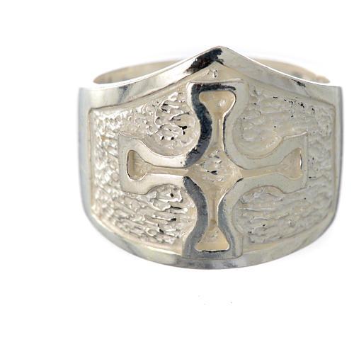 Anel episcopal prata 800 cruz prateada 5
