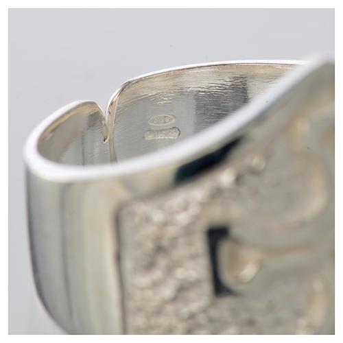 Anel episcopal prata 800 cruz prateada 8