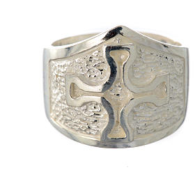 Bishop's ring in 800 silver with silver cross s5