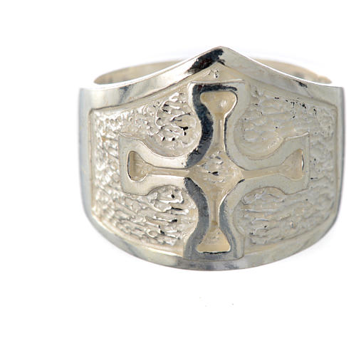 Bishop's ring in 800 silver with silver cross 5