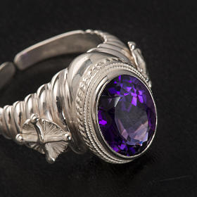 Pierścień episkopalny srebro 925 jadeit kolor ametystowy s3