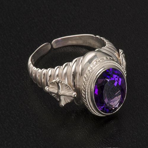 Pierścień episkopalny srebro 925 jadeit kolor ametystowy 2