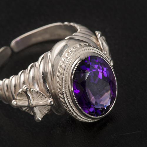 Pierścień episkopalny srebro 925 jadeit kolor ametystowy 3