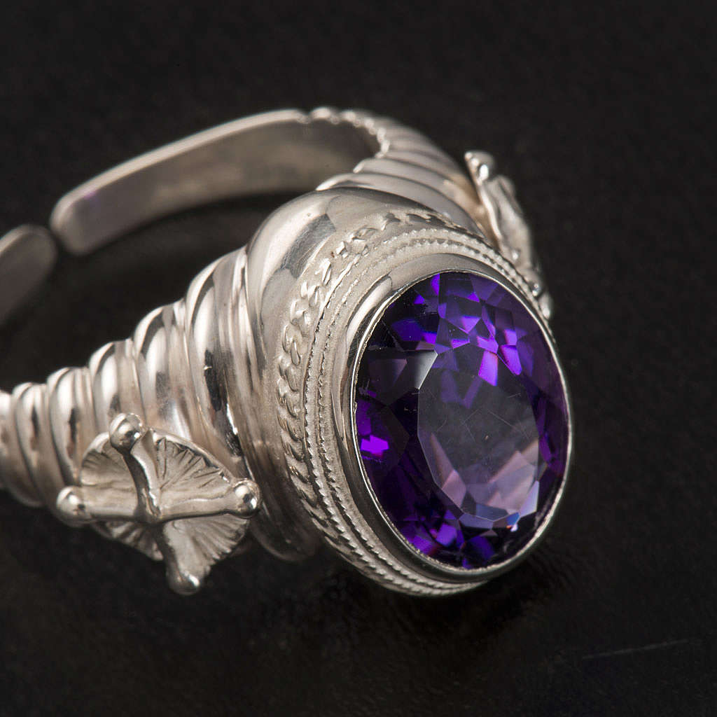 Bishop's ring made of 925 silver with amethyst 3