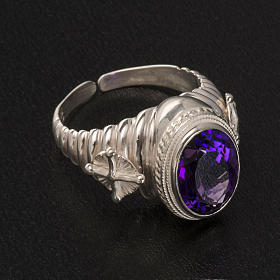Bishop's ring made of 800 silver with amethyst s5