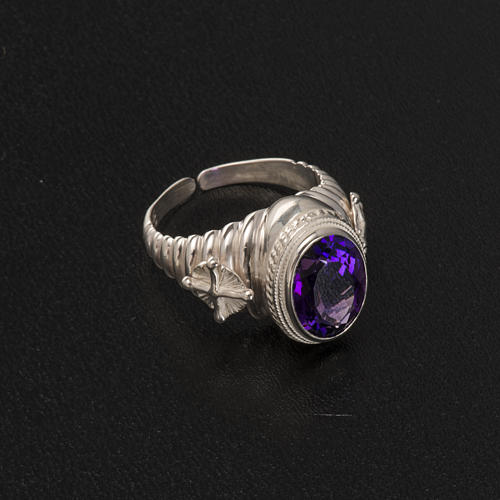 Bishop's ring made of 800 silver with amethyst 6