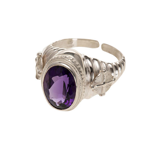 Bishop's ring made of 925 silver with amethyst 1
