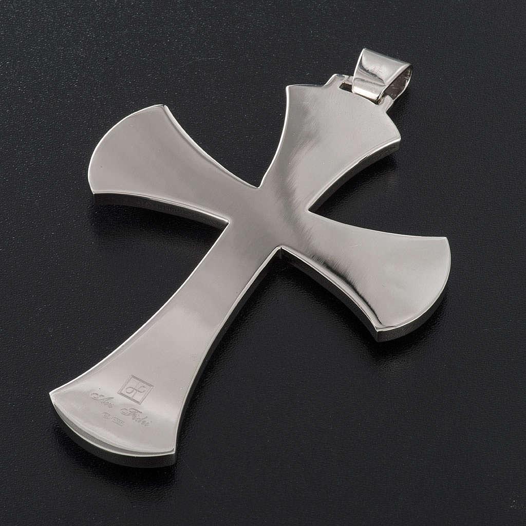 Cruz obispal Año de la Fe plata de ley blanca y dorada 3