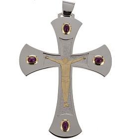 Cruz obispal Año de la Fe plata de ley blanca y dorada s1