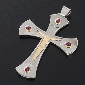 Cruz obispal Año de la Fe plata de ley blanca y dorada s3
