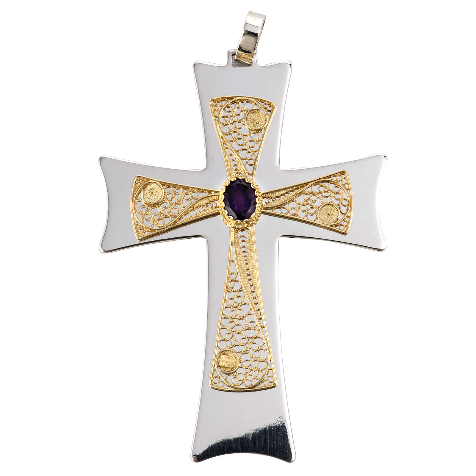 Pectoral cross made of sterling silver, 18Kt gold, rubies 3