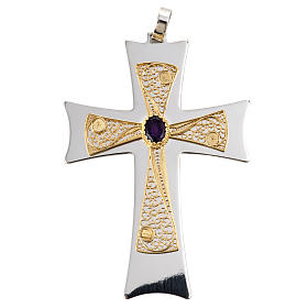 Pectoral cross made of sterling silver, 18Kt gold, rubies s1