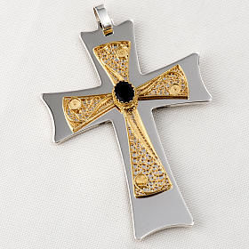 Pectoral cross made of sterling silver, 18Kt gold, rubies s25