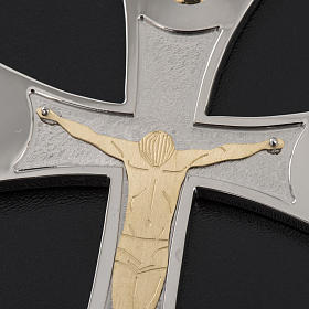 Pectoral cross made of sterling silver, 18Kt gold, rubies s17