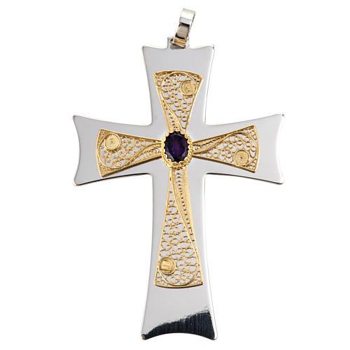 Pectoral cross made of sterling silver, 18Kt gold, rubies 1